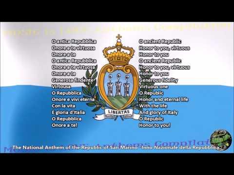 San Marino National Anthem with music, vocal and lyrics Italian w/English Translation