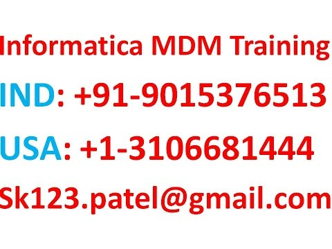 Informatica MDM 10.1  Online Training  | Stage job  Raw tables , Reject tables and PRL tables