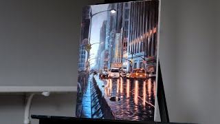 Rainy City Painting with Acrylics | Painting with Ryan
