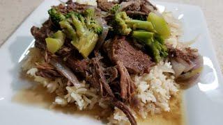 From Frozen 3lb Chuck Roast Beef & Broccoli on Jasmine Rice Ninja Foodi Better than Bouillon