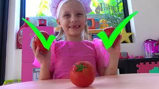 Alicia fingir jugar vendiendo helado y hacer nuevo helado de vegetales para papá
