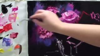 """Алла Белопесоцкая видеоурок живопись маслом""""сияющие цветы"""""""