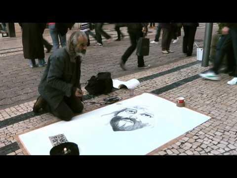 Street Painter in Porto, Portugal
