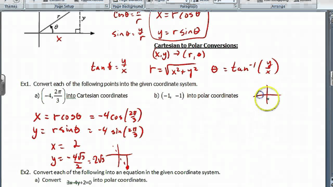worksheet Polar Coordinates Worksheet precalc section 10 7 polar coordinates youtube