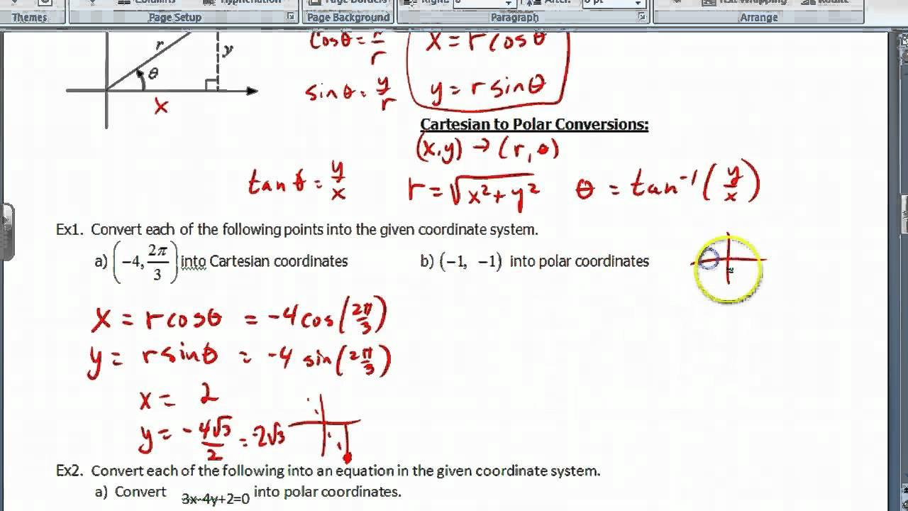 Polar Coordinates Worksheet. Worksheets. Ratchasima ...