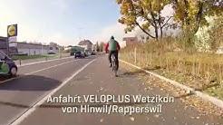 Anfahrt VELOPLUS Wetzikon von Hinwil/Rapperswil