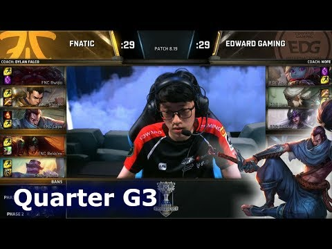 FNC vs EDG Game 3 | Quarter Final S8 LoL Worlds 2018 | Fnatic vs Edward Gaming G3