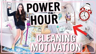 POWER HOUR CLEANING ROUTINE! SPEED CLEAN WITH ME FOR DAILY CLEANING MOTIVATION! | Alexandra Beuter