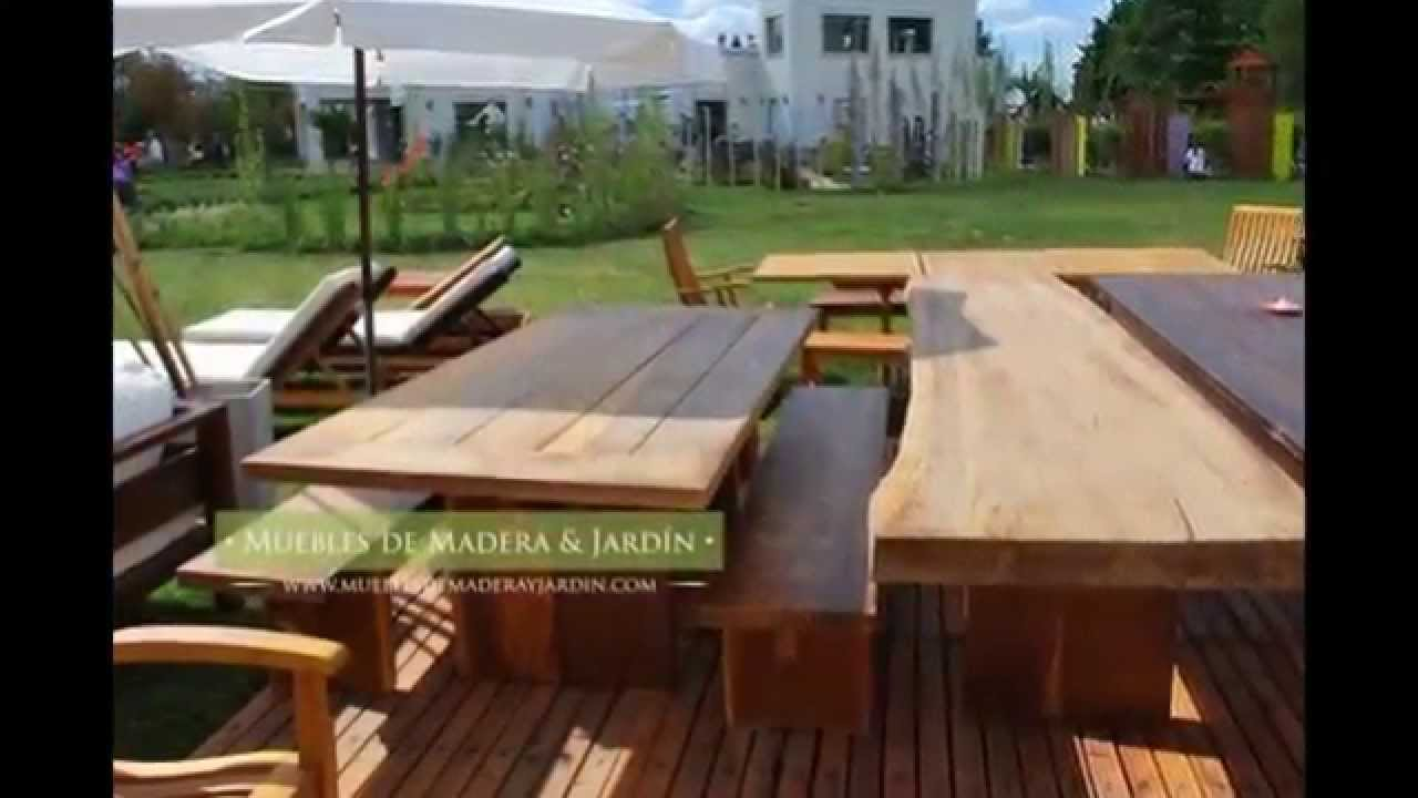 Mesas de madera muebles de madera y jard n com youtube for Mobles de jardi