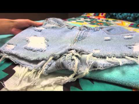 DIY: Destroying Jeans (Keeping the White Threads) & Studding Jeans