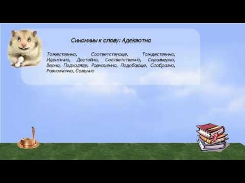 Синонимы к слову адекватно в видеословаре синонимов онлайн
