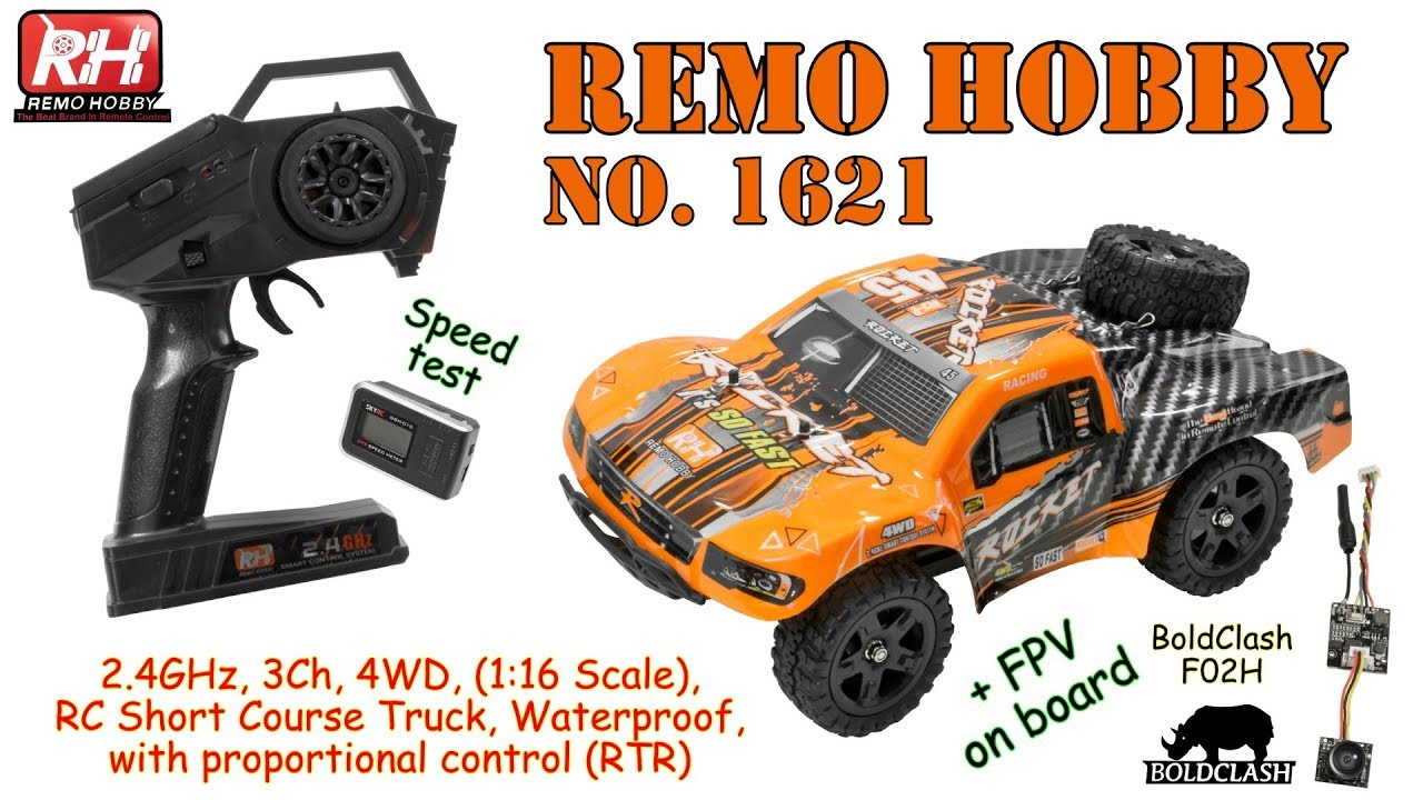 REMO HOBBY 1621 2.4GHz, 3Ch, 4WD, 1:16 Scale, RC Short Course, Waterproof (RTR) + BoldClash F02H Pro
