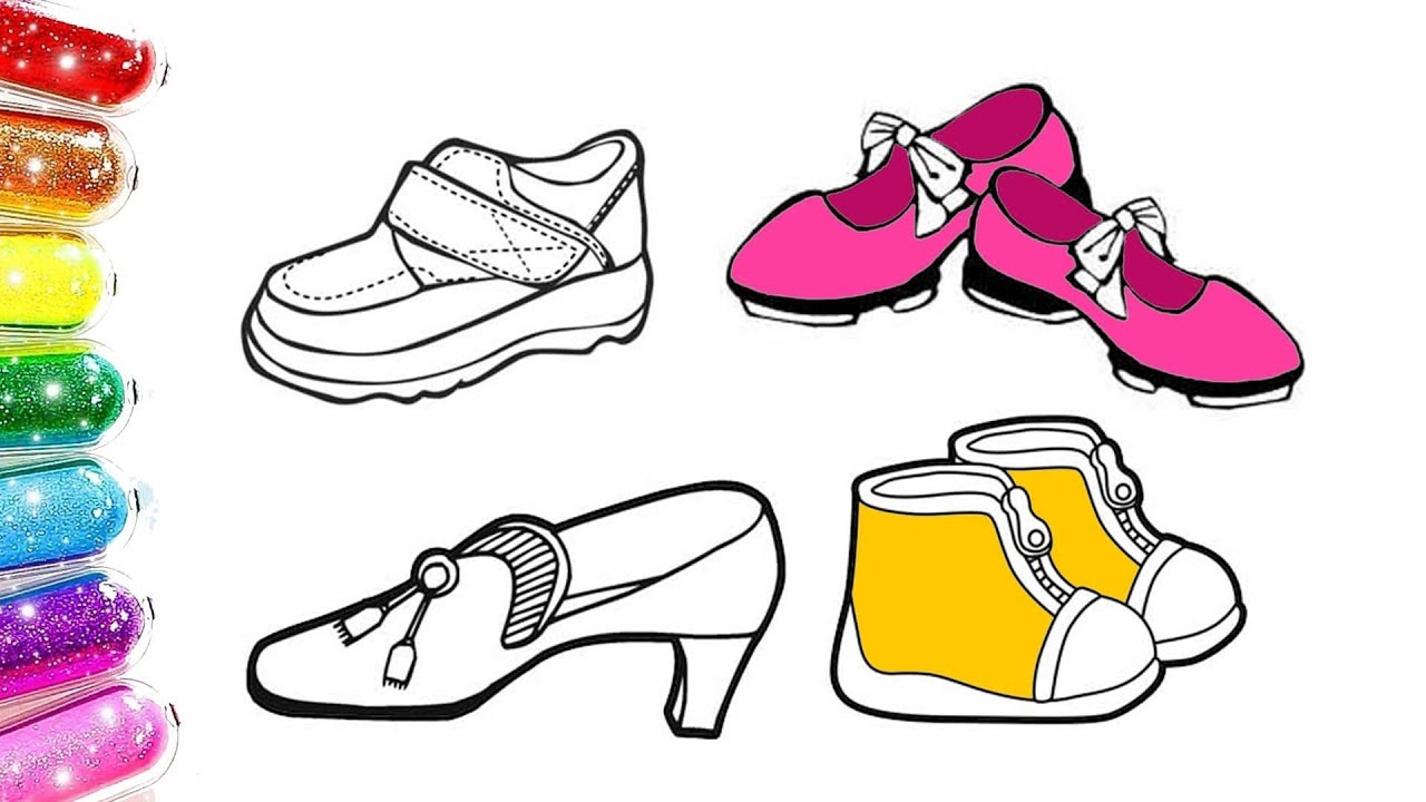 Renkli Ayakkabılar Boyama Prens Prenses Ayakkabısı Boyama Youtube