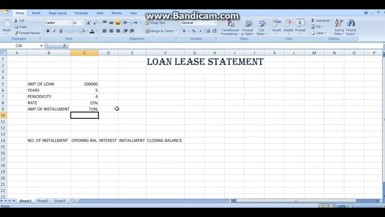 how to make loan lease statement in excel
