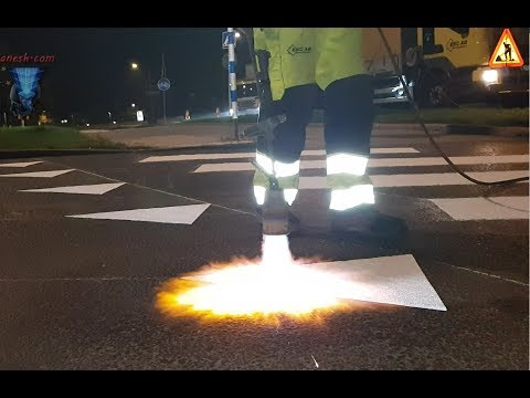 STEP BY STEP! Thermoplastic HotMix pedestrians road marking project in Stockholm-Sweden!