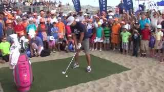 Rickie Fowler hosts golf clinic on beach in Sea Bright, New Jersey