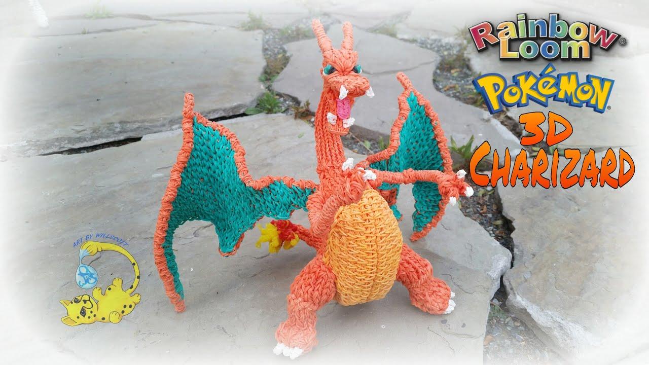 Rainbow Loom 3d Charizard Pokemon Part 15 15 Youtube