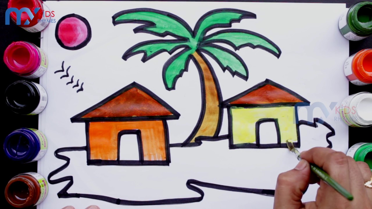 Beach house drawing and painting for kids beach house coloring pages for children