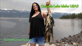 Lake Cascade Perch Fishing from the Bank!! Idaho USA!!