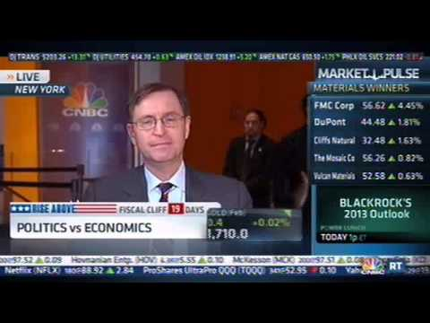 Sign Falls On Glenn Hubbard During CNBC Interview