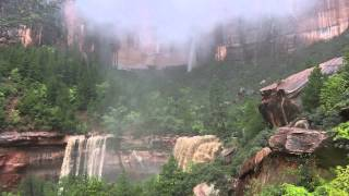 emerald pools waterfalls zion national park rain deluge from hurricane norbert