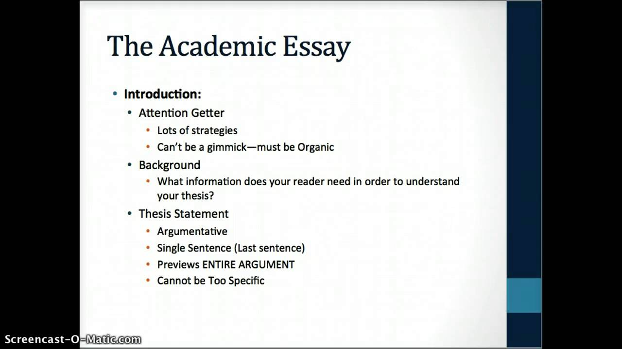 Conventions of the Academic Essay YouTube – Academic Essay