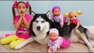 My super fun day with Baby Dolls and Dog, Sofia plays with toys for girls