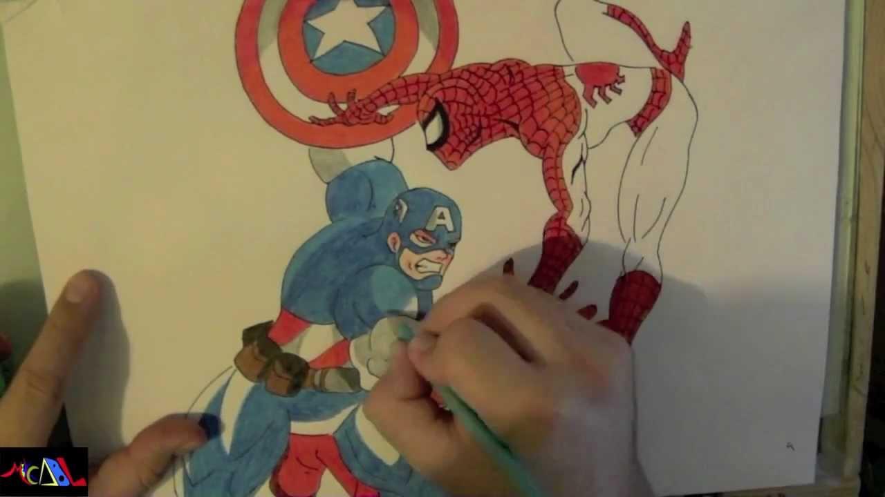 Dibujando a Capitan America VS Spiderman  YouTube