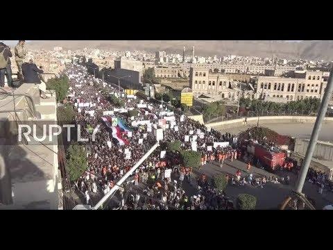 Yemen: Sanaa residents unfurl huge Palestinian flag at rally for Jerusalem