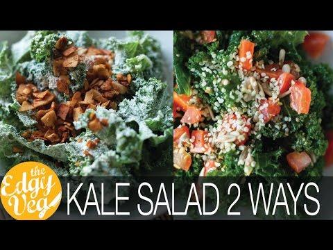Kale Salad Recipes: Kale VEGAN Ceasar Salad & Kale & Pesto Salad | The Edgy Veg