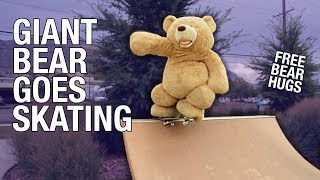 Repeat youtube video WORLDS LARGEST SKATEBOARDING BEAR!!