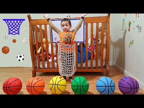 Thumbnail: Learn Colors with Balls for Toddlers, Babies, and Preschool Kids - Learning Colours with Basketballs