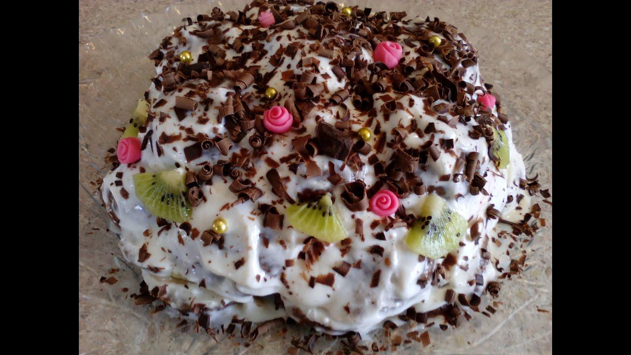 Фруктовый торт без выпечки с зефиром