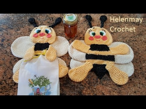 Crochet Bee Potholder Hot Pad Kitchen Towel Topper Part 1 Of 2 Diy