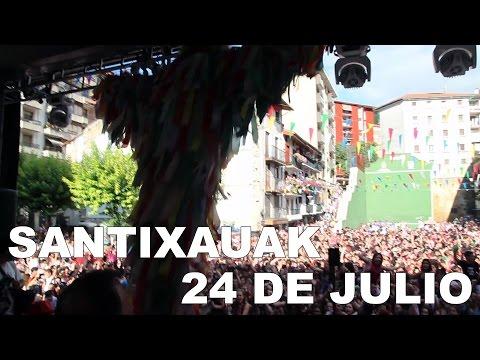Ermua 24 de julio 2016; Chupinazo y desfile de charangas