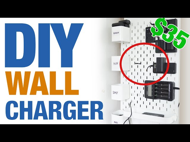 $35 DIY AWESOME wall charging station (NO TOOL NEEDED)