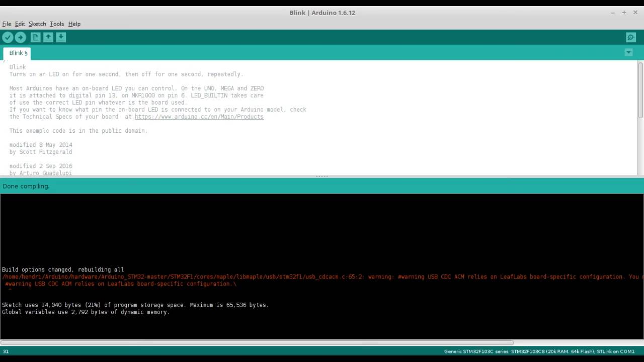 Getting Started Arduino ARM Cortex M3 using STM32F103C8T6 and STLink  programmer on Linux