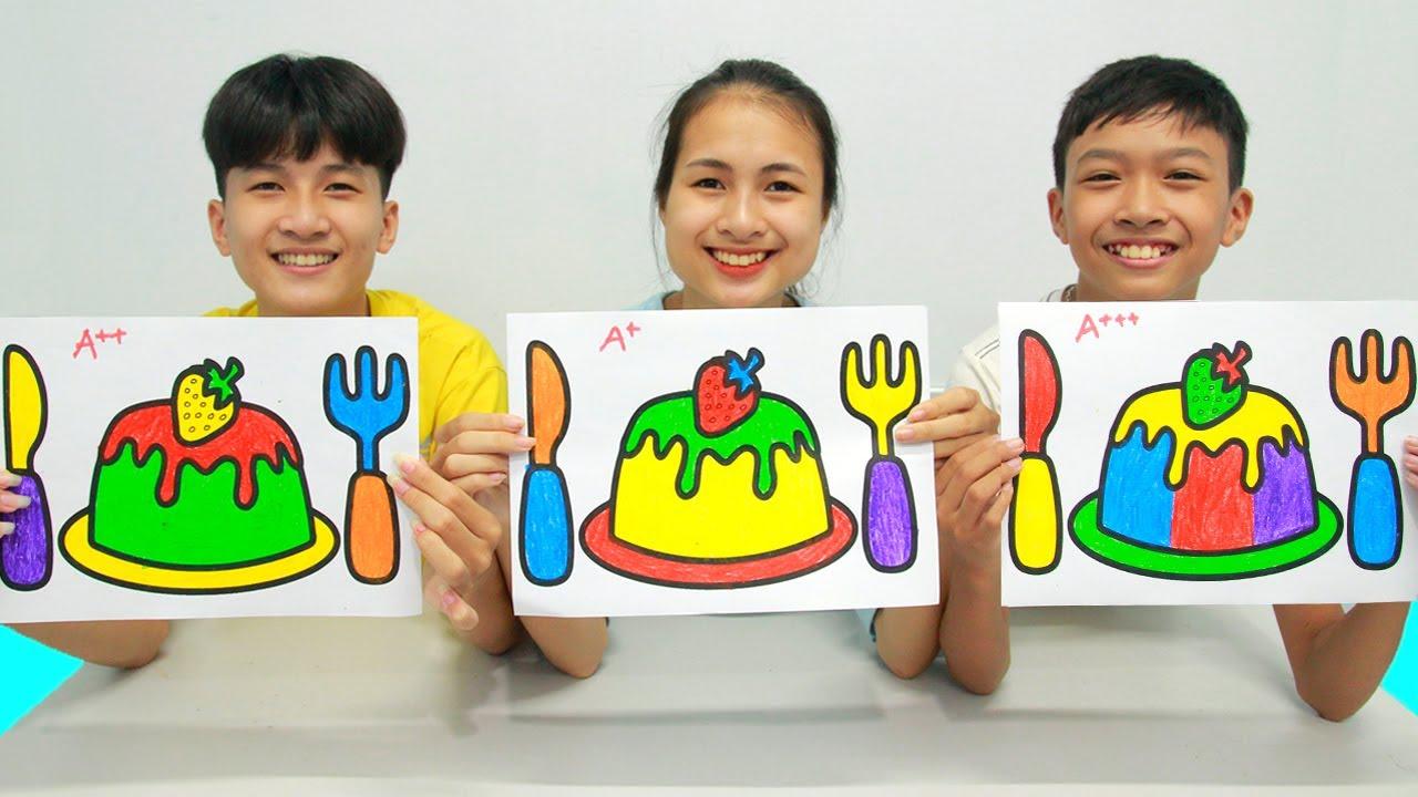 Strawberry Pudding and Cutlery Set, Warna Warni Belajar Menggambar dan Mewarnai untuk Anak