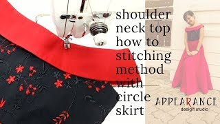 shoulder neck top how to stitching method with circle skirt 2020