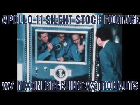 APOLLO 11 SILENT STOCK FOOTAGE w/ NIXON GREETING ASTRONAUTS 72362