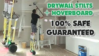 CRAZY Drywall Construction Worker Uses Flat Box while Riding Hoverboard ON STILTS!