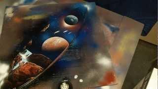 Spray Paint Art - Skateboard deck space landscape