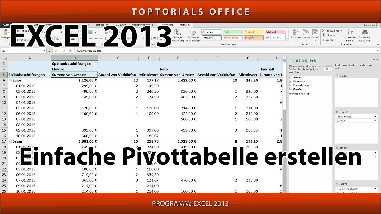 Pivot Tabelle Erstellen Total Leicht Excel Youtube