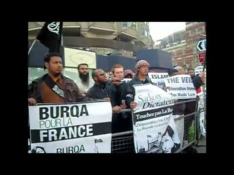 shocking footage - UK islamic terrorists preaching hate and jihad against france for niqab ban
