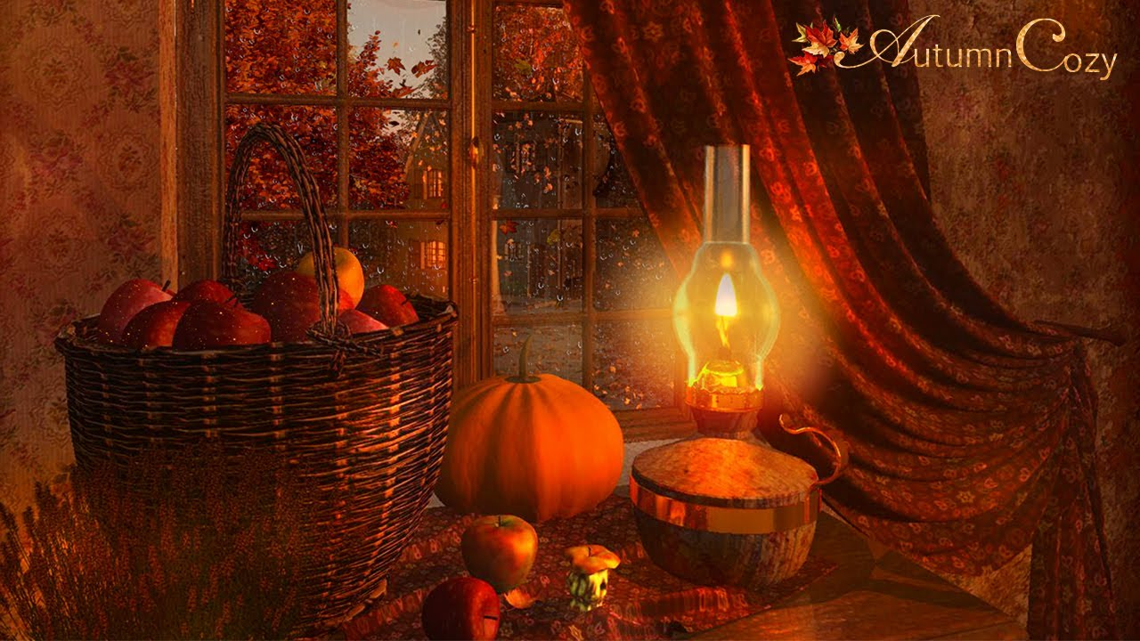 Cozy Autumn Nook Ambience With Rain and Thunder Sounds For Sleeping and Relaxation