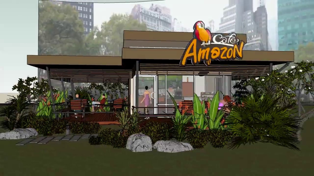 Sketchup and auto cad amazon coffee cafe youtube for Amazon design shop