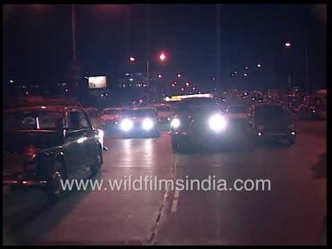 India's Commercial and Financial Capital - Bombay or Mumbai night scene in the 1990's