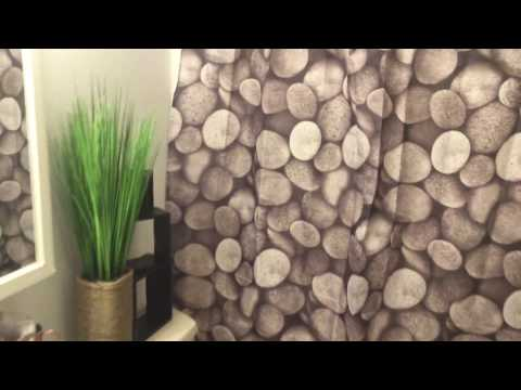 Waterproof Fabric Shower Curtains with 12 Metal Ring Pebble Design