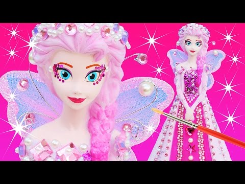 Thumbnail: FROZEN ELSA PINKIE PEARL FAIRY PRINCESS DRESS Paint Your Own Makeover Glitter Doll Bank How To