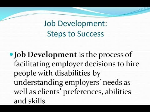 Key Concepts and Strategies for Job Development in IPS Supported Employment